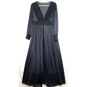 70s Peignoir Robe Black Nylon Lace Full Length L